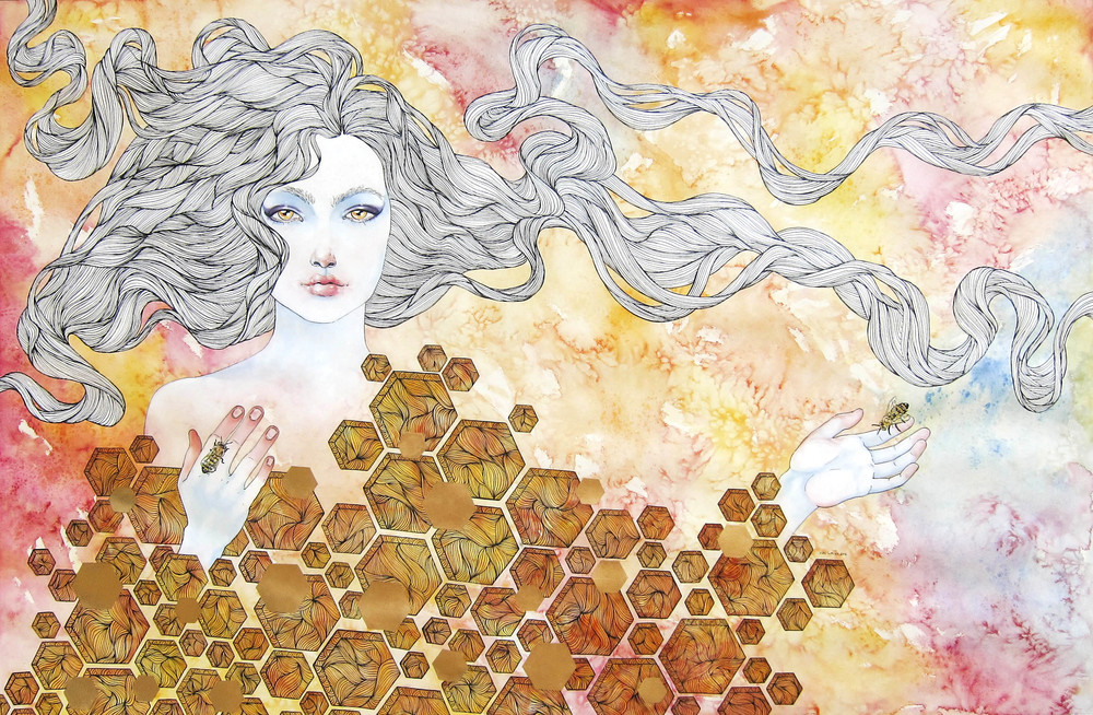 Bee Queen watercolor, acrylic, pen and ink, gold leaf 2014  41 x 61 inches