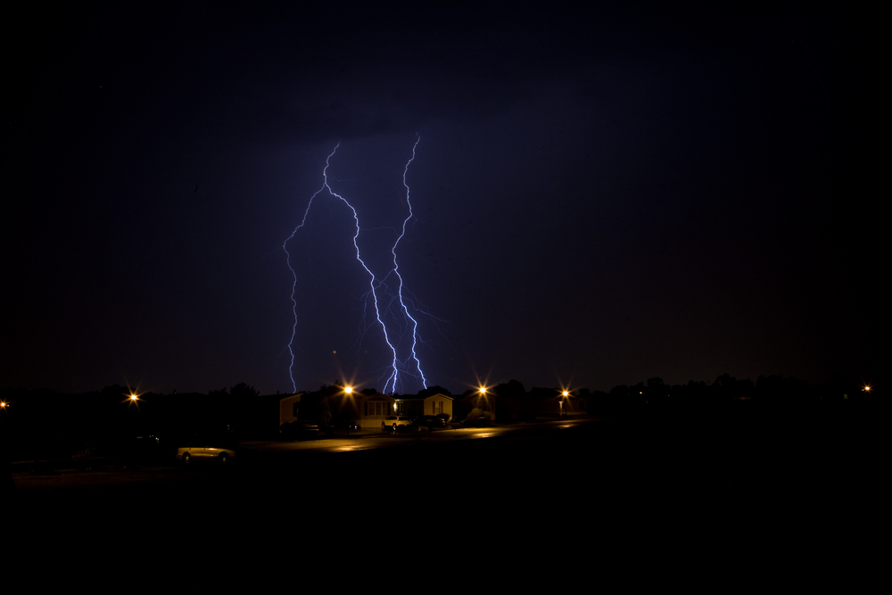 Lightnign strikes from a storm that passed through the Bear, Delaware area on June 20, 2014