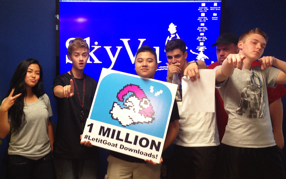Vine stars Jack & Jack celebrate reaching 1 MILLION Let it Goat downloads with the SkyVu team.
