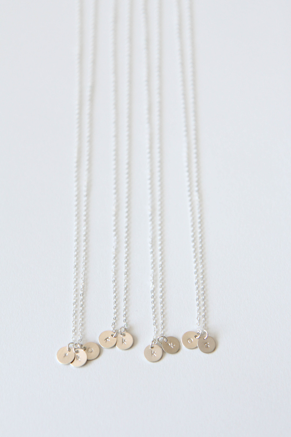 Hand-stamped initial necklaces for the bridal party