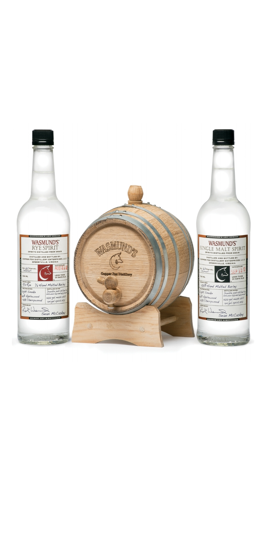 Rick Wasmund and Copper Fox Distillery continue to blaze new trails in the American whisky landscape!    Wasmund's Barrel Kit™ provides a uniquely creative opportunity for the casual or professional mixologist, the creative aspiring chef, or the true whisky connoisseur.  Read more...     The kits include:    Two-liter charred American White Oak mini-barrel    Two 750ml bottles of one of our brilliant cask strength (124 proof) spirits: Wasmund's Single Malt Spirit OR Wasmund's Rye Spirit     Detailed instructions and FAQ sheet