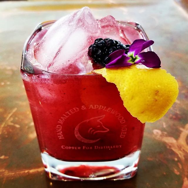 Spring time has never tasted sooooo good;) Join us at the Copper Fox Williamsburg Distillery for some refreshing and even healthy cocktails!  Black Betty(bam- ba- lam) will tickle your taste buds and have you ordering another! #whisky #womenwhowhiskey #craftspirits #craftcocktails #Distillery #cocktails #blackberries #lavender #gin #whiskey