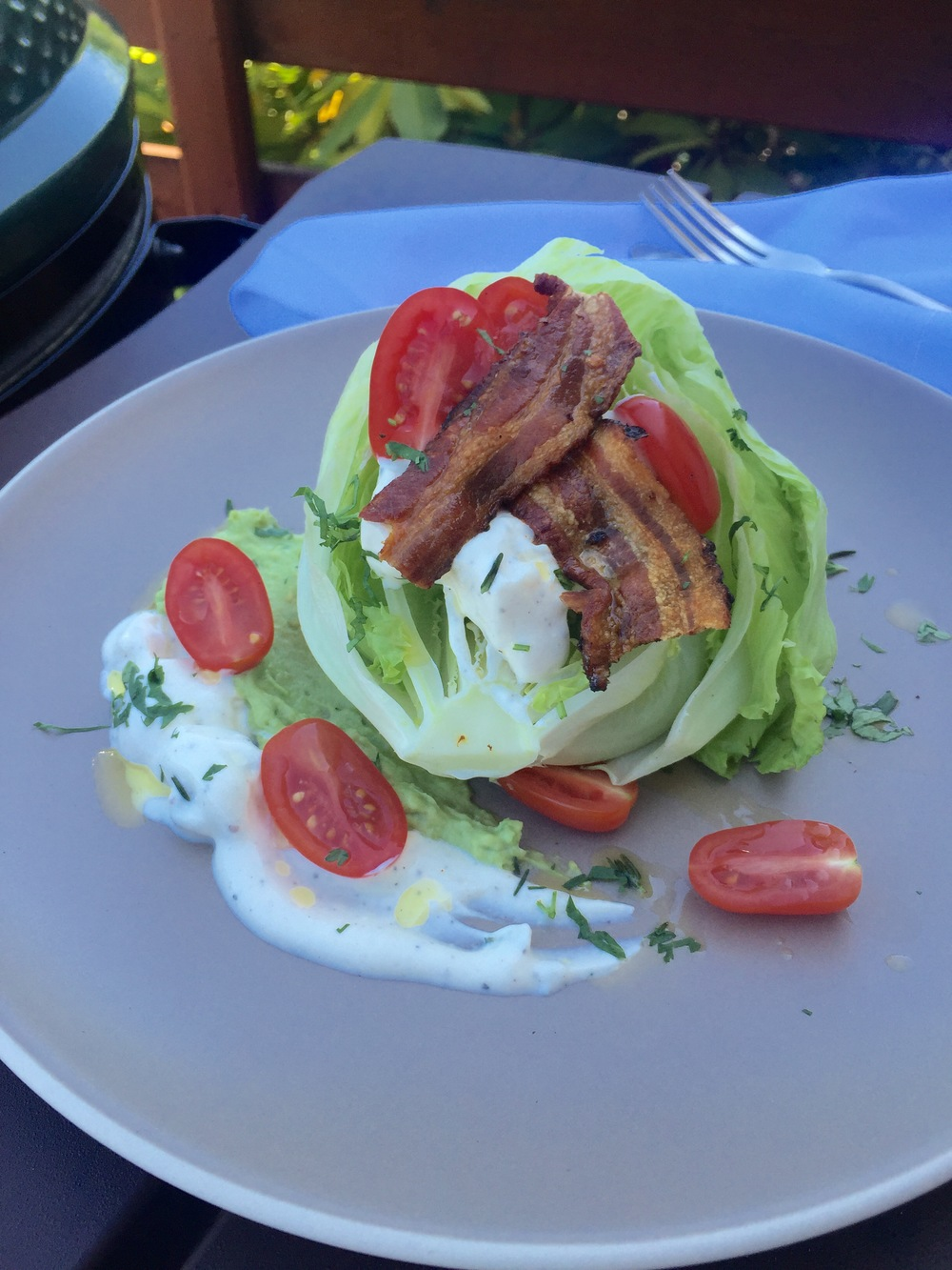 Bacon, Lettuce, Tomato Summer Salad with Blue Cheese Dressing and Avocado Mousse