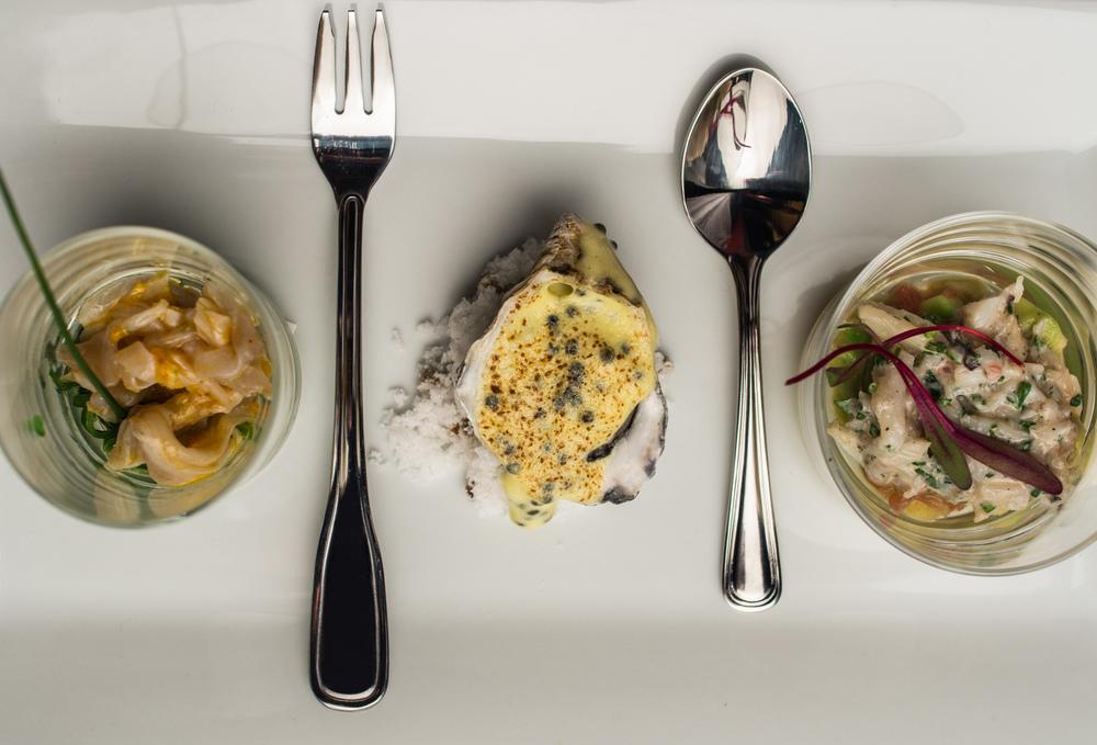 Geoduck Ceviche, Oyster & Caviar, Crab