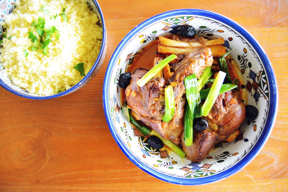 Braised Lamb Shanks with Spring Onion, Olives and Couscous