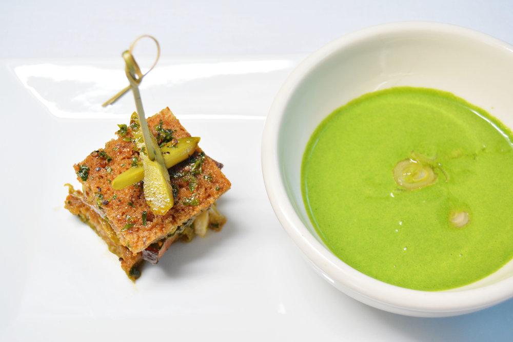 Chilled Nettle Soup, Pickled Spring Leek, Brisket Rye Sandwich,  House Sauerkraut
