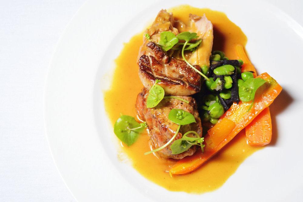 Braised Rabbit, Fois Gras, Fava Bean, Carrot, English Pea, Perigord Truffle
