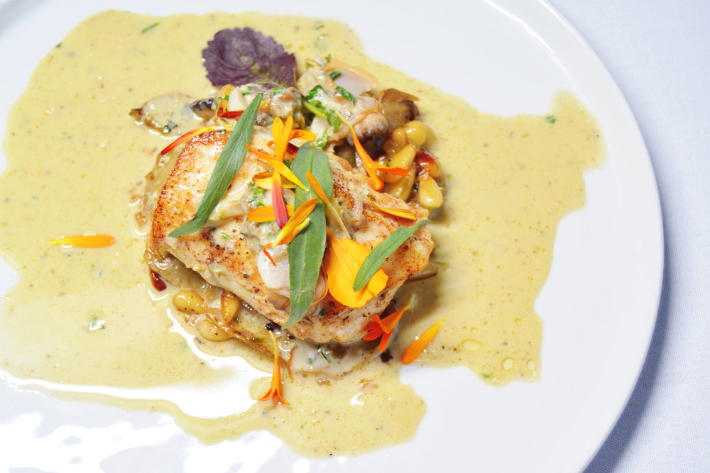 Brown Butter Halibut, Artichoke, Pine Nut, Tarragon, Sherry, Manila Clam