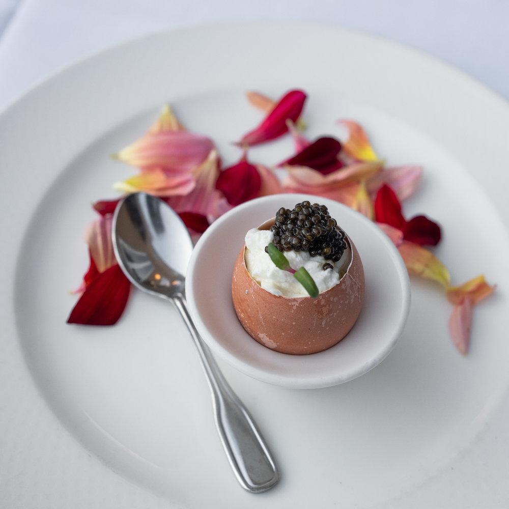 Scrambled Egg, Lime Crème Fraîche, White Sturgeon Caviar
