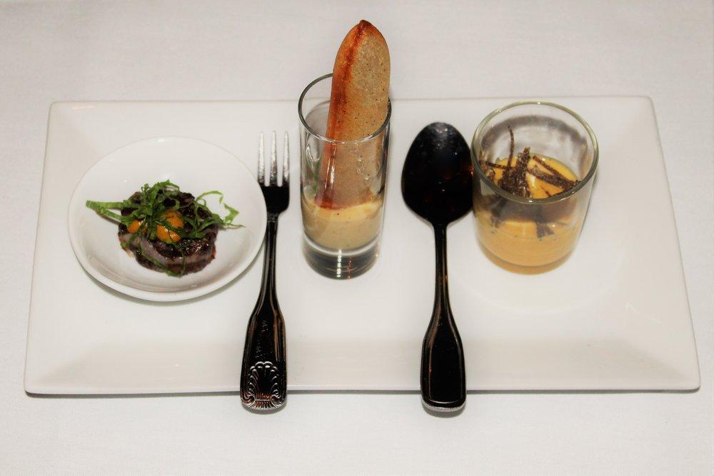 Beef Cheek Paupiette, Curry Mustard  Pomme Soufflés, Tomme de Savoie Fondue, Black Peppercorn  Pumpkin Bisque, Urchin, Truffle