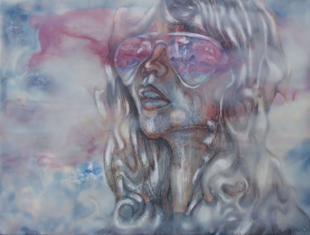 Her Glasses #1  9x12  Encaustic  $260