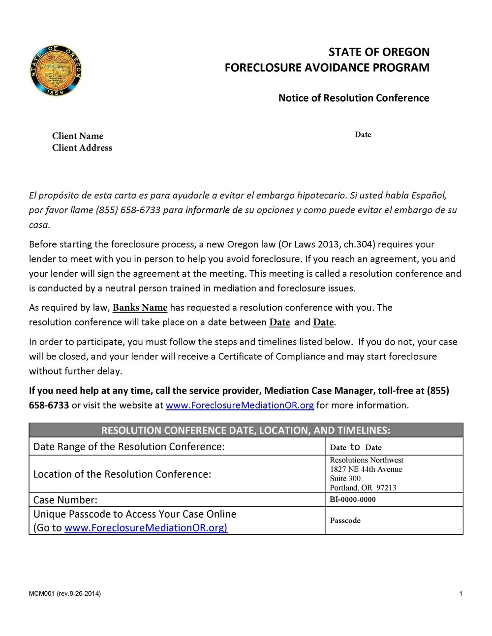 Sample Notice of Resolution Conference letter