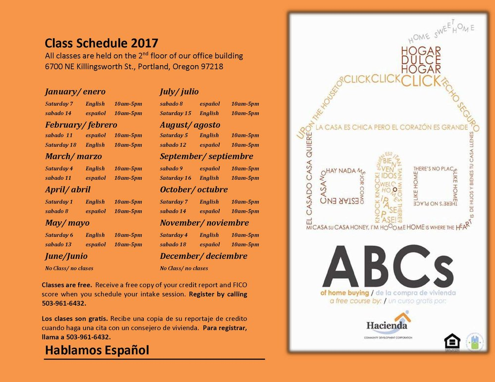 ABCs of Homebuying 2017 Schedule