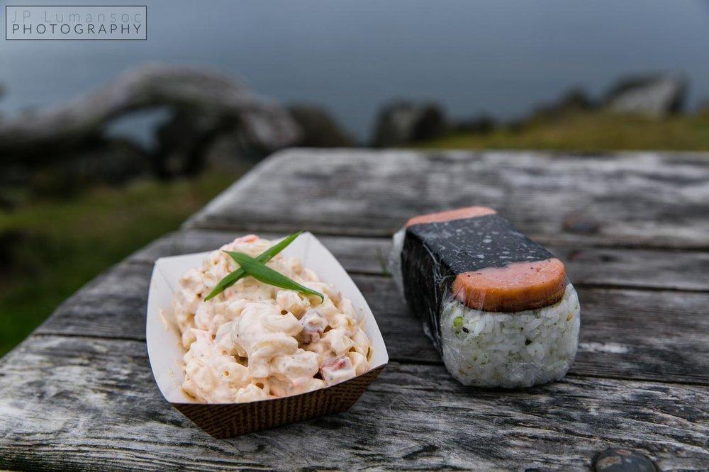 Marination Ma Kai Spam Macaroni Salad and Spam Musubi http://marinationmobile.com/