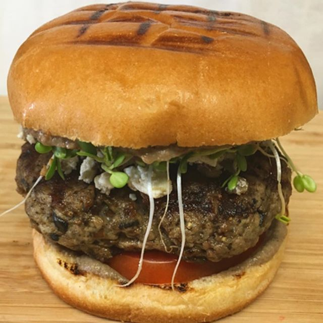 Portobello Lamb Burger | mushroom sauce | mushroom feta cheese | micro greens | brioche bun | The 2017 Blended Burger Project™ is in development! Click on the link in my bio above 🔝🔝 from May 29 to July 31, 2017 to submit your vote below to make Labebe's Portobello Lamb Burger the best in the country. Please Vote. Thank you! #LabebeNJ #JamesBeardHouse #JamesBeardFoundation @labebenj @nnoryk