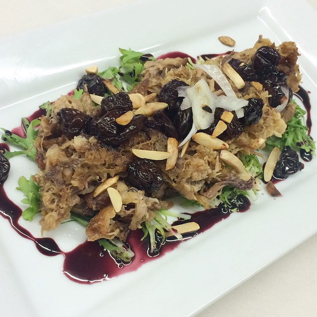DUCK CONFIT || Frisee || Shaved Fennel ||Almonds || Port Wine Cherry Reduction ||