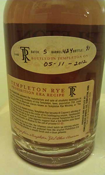 """Produced and Bottled by.....Templeton, Iowa"""