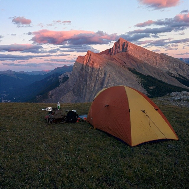 Campsite with a view of Ha Ling and Canmore