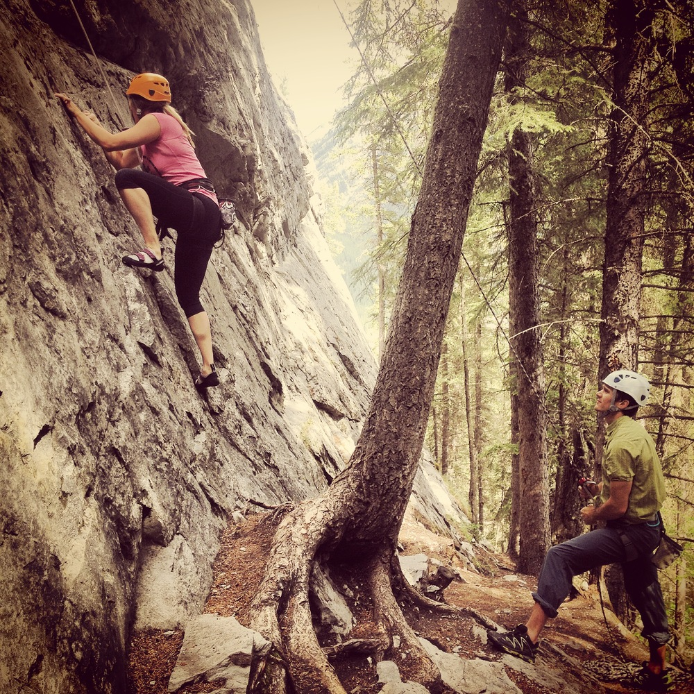 Taking some climb time on the back on Tunnel in Banff with my brother and sister