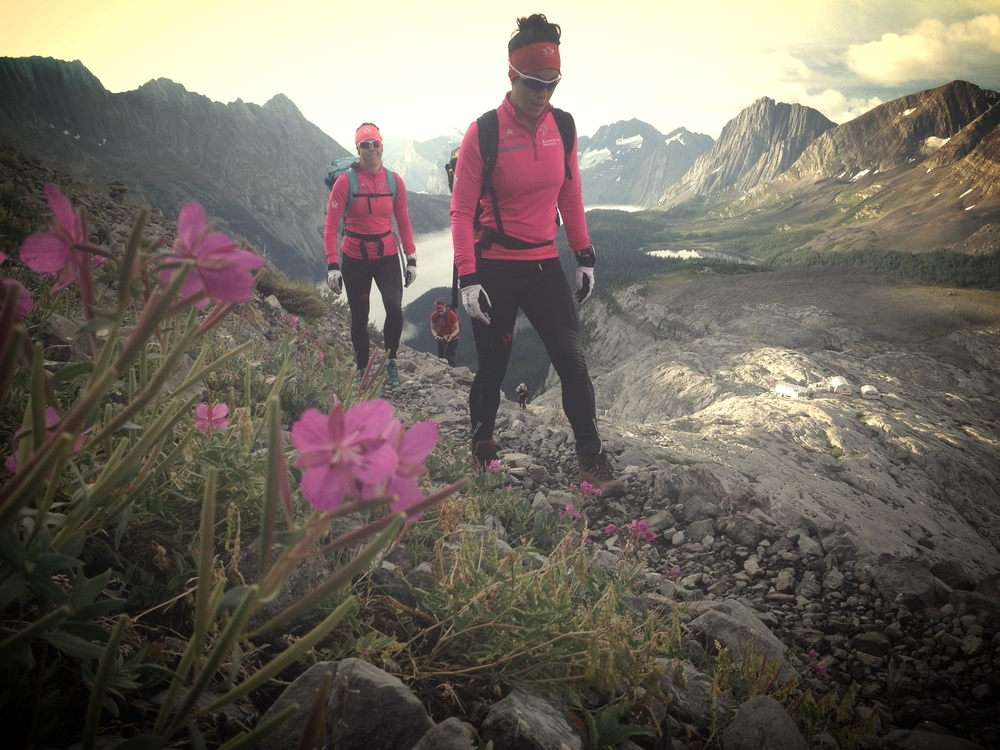 Pretty in Pink! EmNish and Peri hiking up to the glacier.