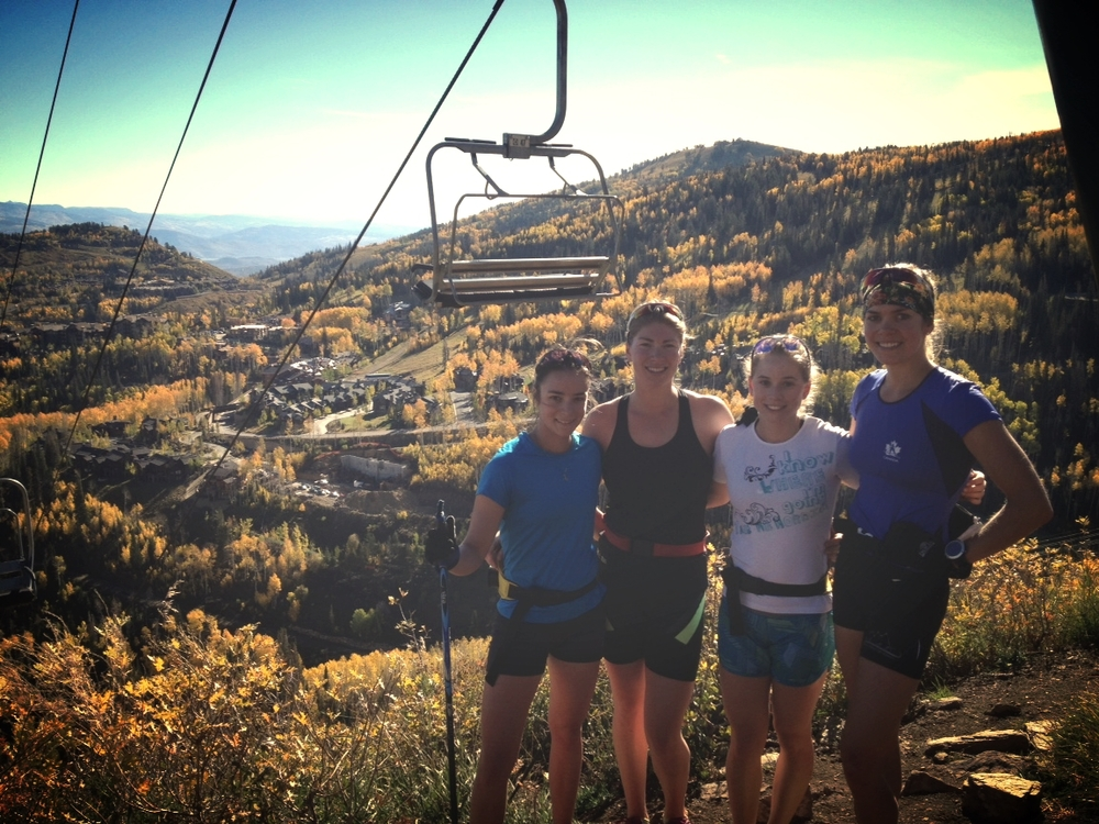 Fréd é rique, Dahria, Cendrine and I mid-run on Park City Mountain