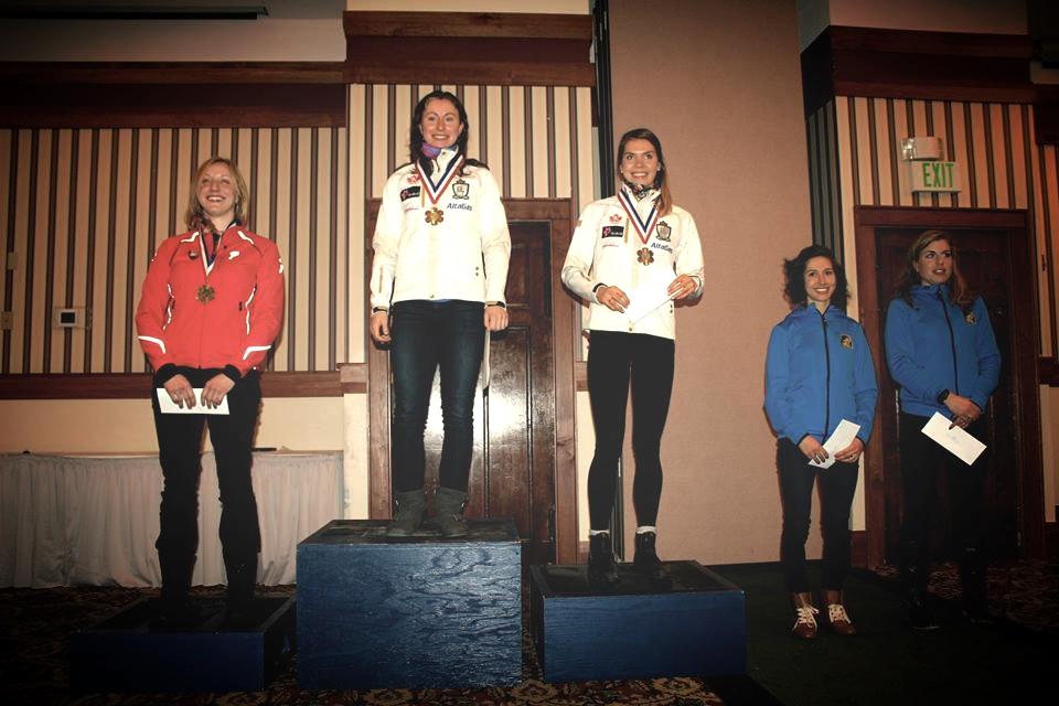 Women's sprint podium. L-R Jennie Bender, Alysson Marshall, myself, Chelsea Holmes, Rosie Brennan. Photo: Annie Pokorny