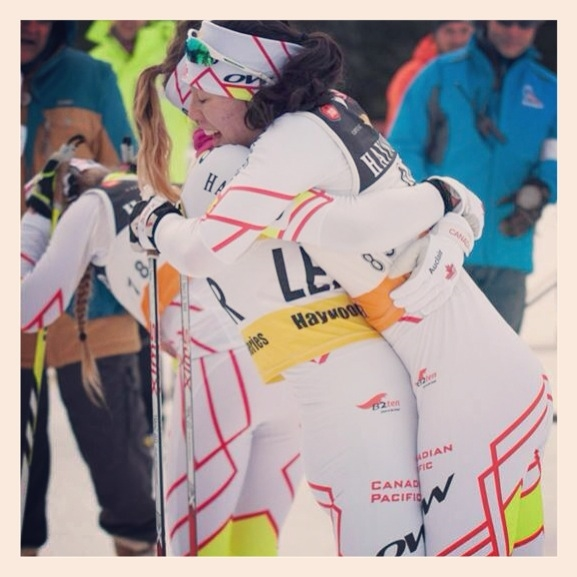 Qualifying for the 2014 was a huge highlight for me. Achieving this lifelong goal alongside many close friends made it even better! EmNish and I hugging after her crushing victory in the 10km Classic.