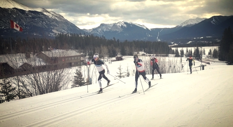 Dahria, Alysson and I in a team sprint format workout with a few UofA and Foothills Nordic athletes joining in.