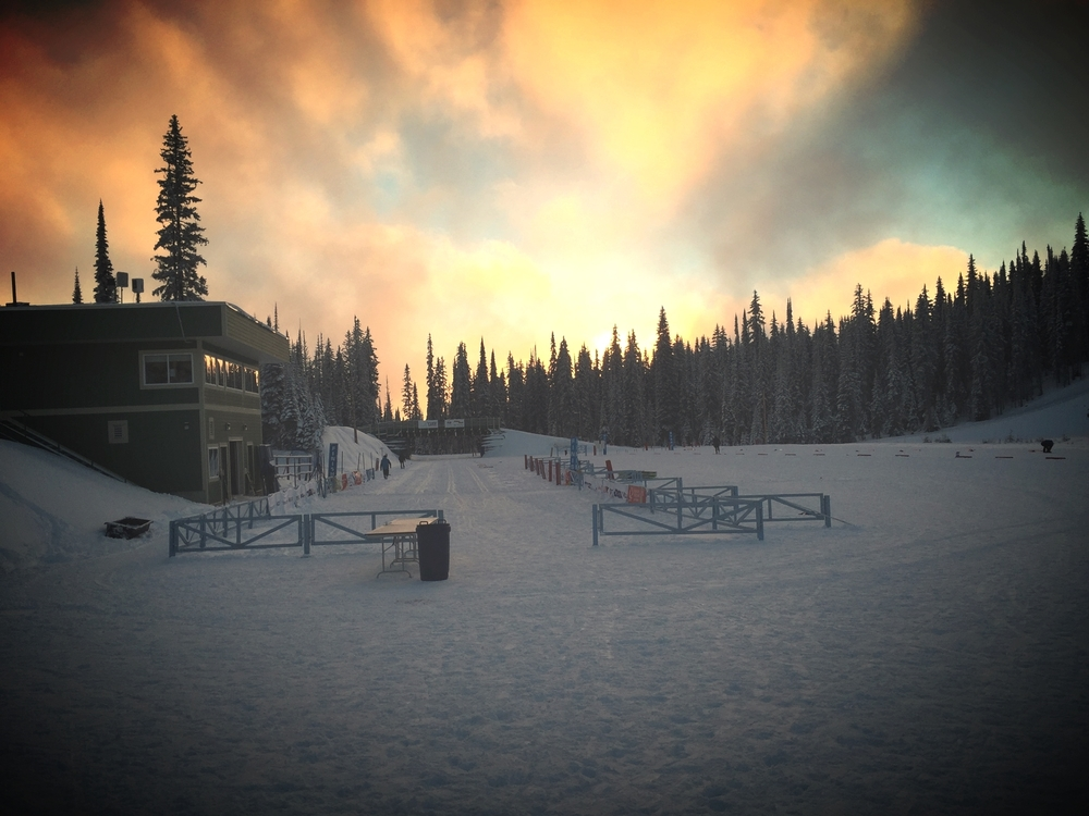 Sun setting over the stadium at Sovereign Lake Nordic.