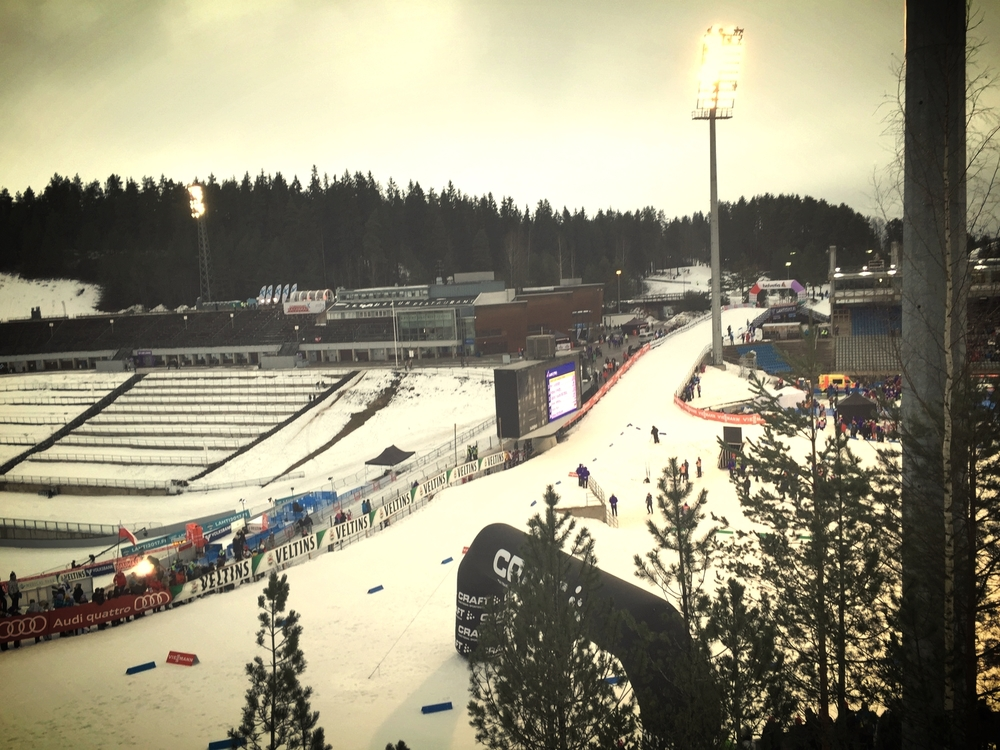 Watching the sprint heats live above the Lahti stadium. Congratulations to Kikkan and Jessie for amazing performances!