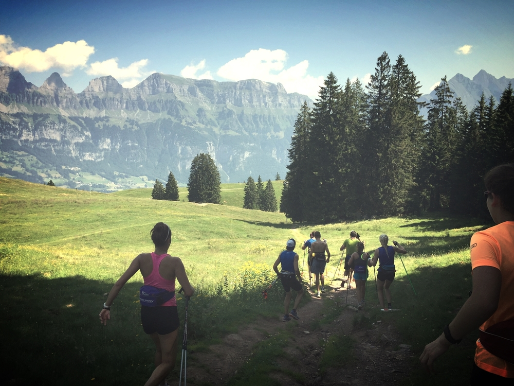 Cooling down after some tough ski striding intervals in Flumserberg.
