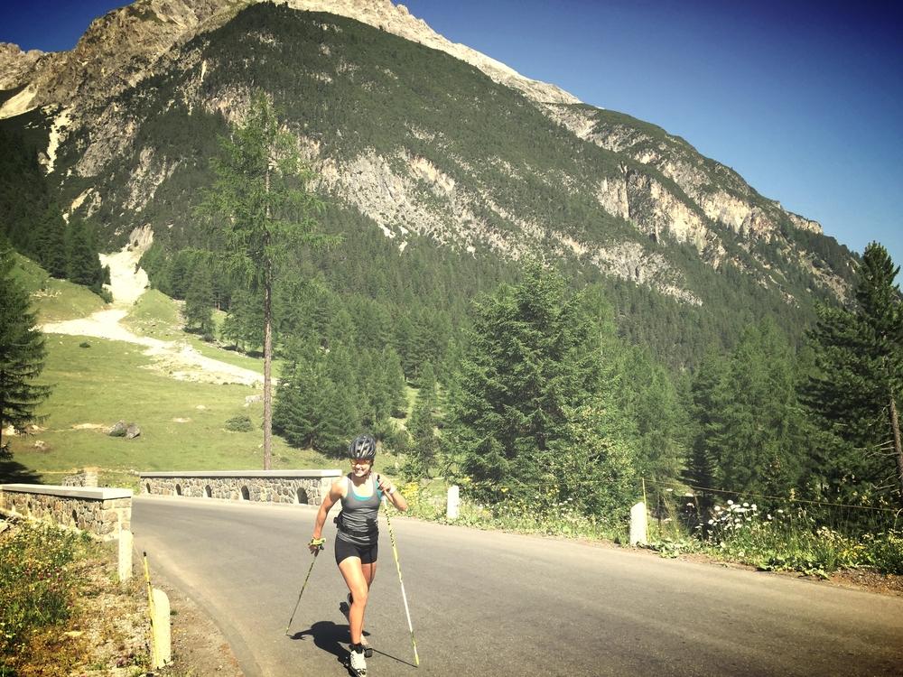 Laurien striding up Albula Pass.