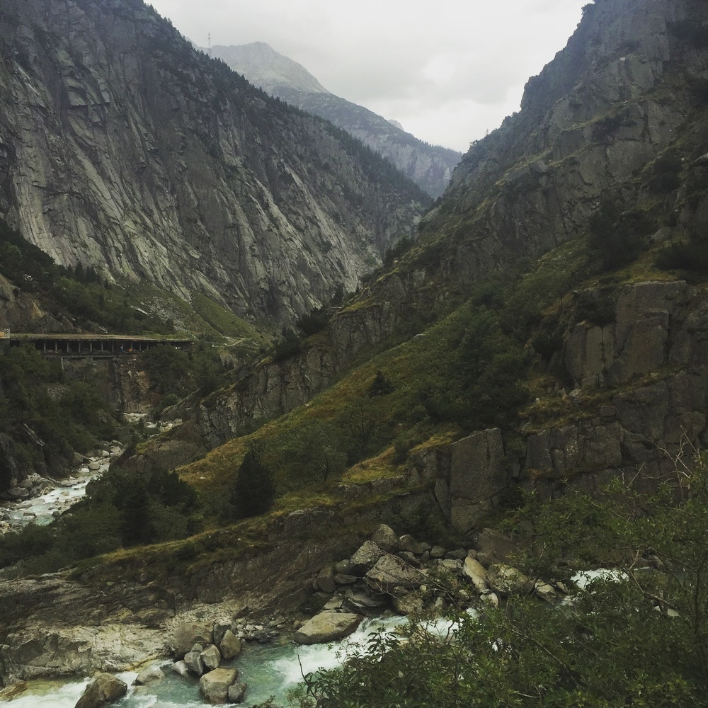 Driving down the valley from Andermatt to start the Berglauf