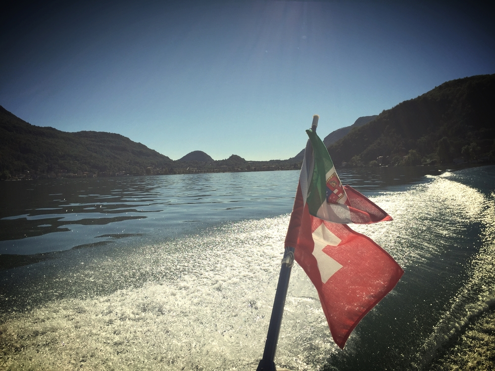 Lago di Lugano. One side Swiss, one side Italian.