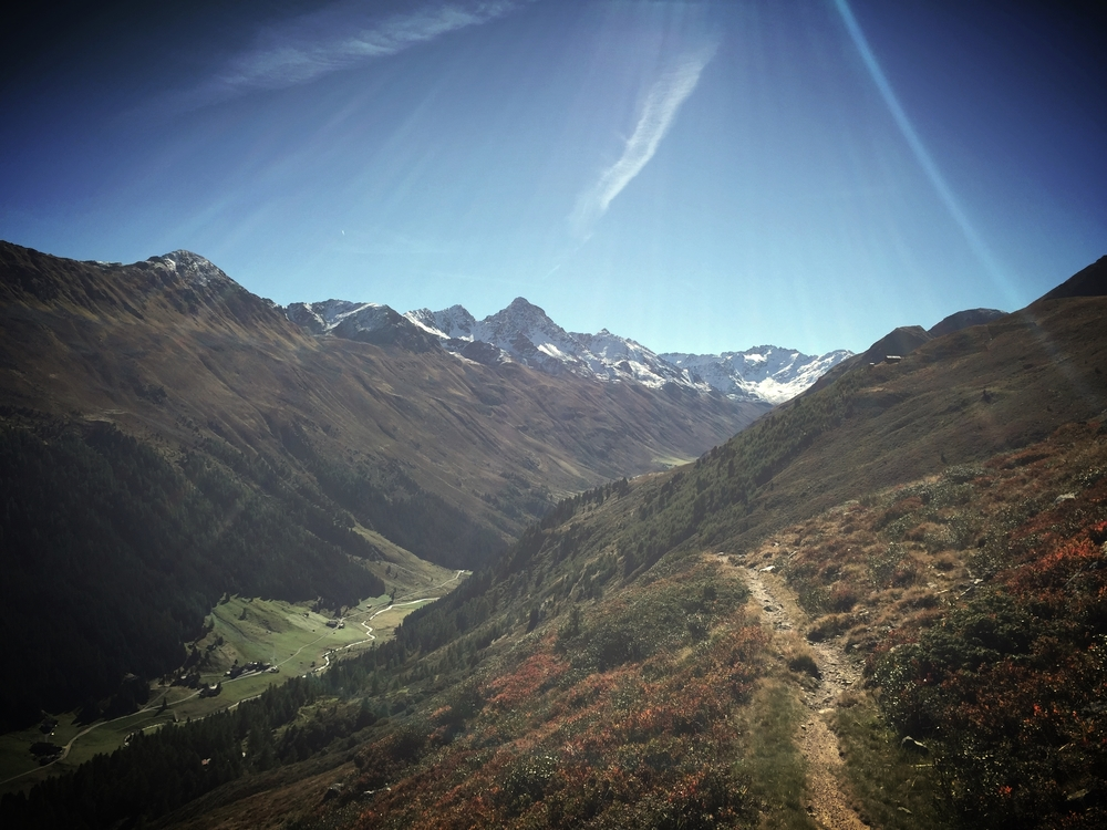 Beautiful fall view of Dischmatal from Jakobshorn