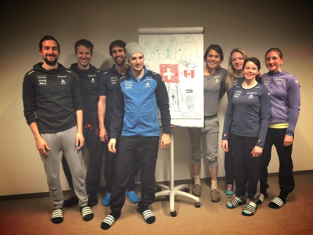 l-r : Ueli, Toni, Curdin, Jonas, myself, Nadine, Nathalie and Lydia. The Swiss Men's and Women's relay teams in Nove Mesto, CZE.