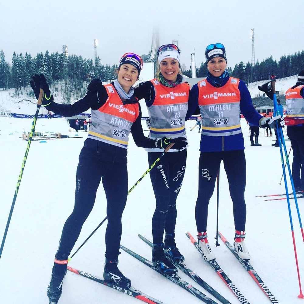 Laurien Van De Graaff, myself and Tatjana Stiffler finishing up race preparations the day before the sprint in the Lahti, Finland stadium (February 20). Photo: Hitsch Flury
