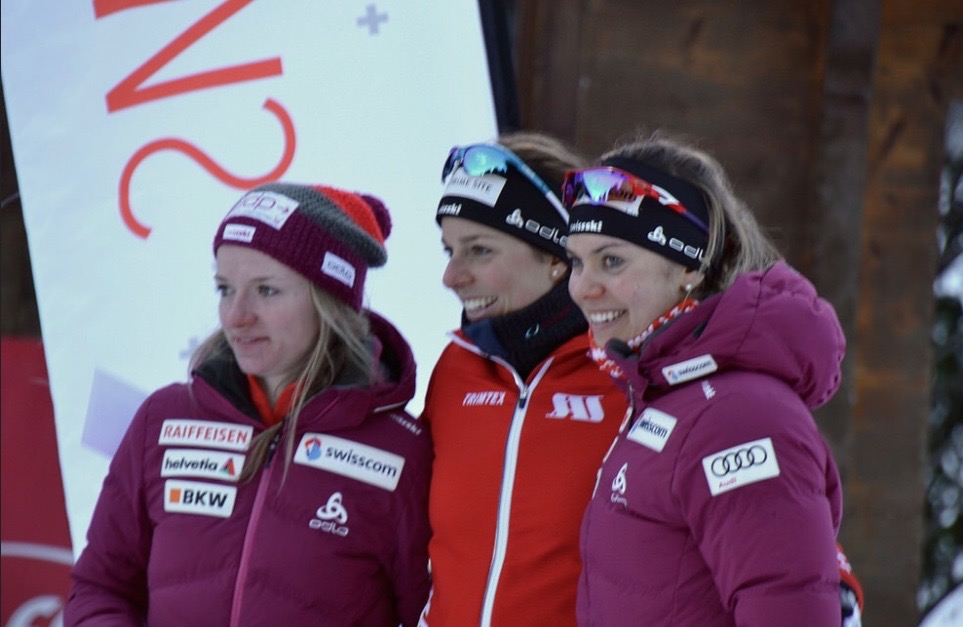 Nadine Fähndrich, Täz Stiffler and myself. Swiss Cup podium. Campra SUI, photo: nordic-online.ch