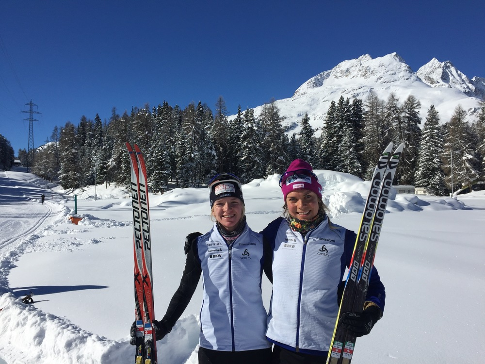 Nadine Fähndrich and I soaking in the rays in St.Moritz after some intensity. So proud of this girl and her silver medal in the Sprint event at the U23 Championships in Romania this week!