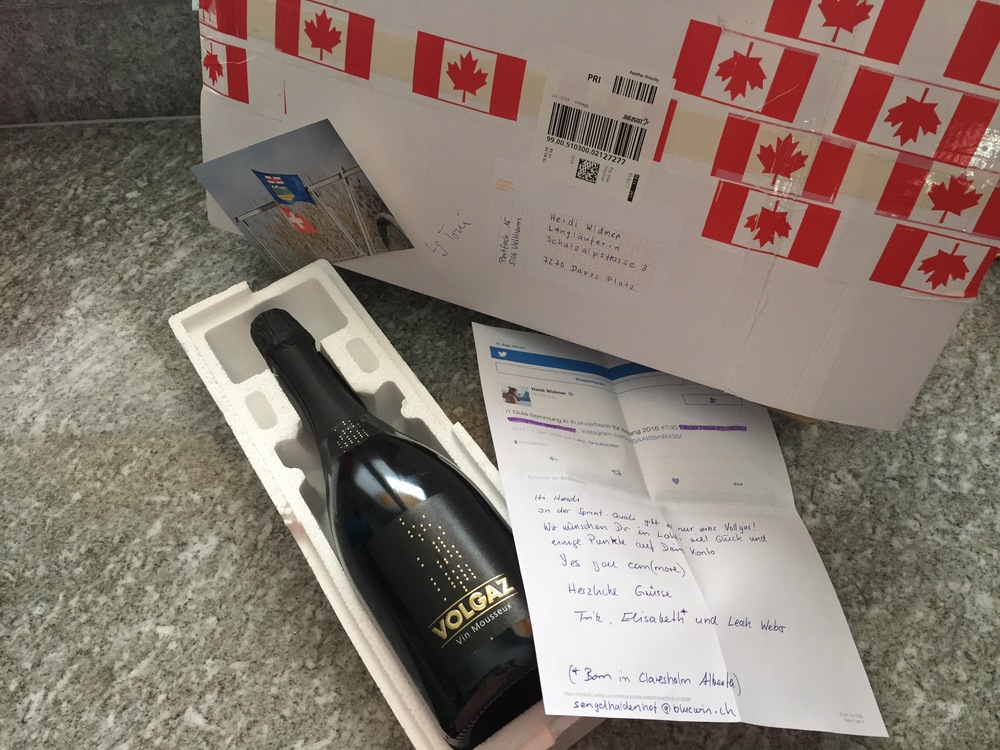 One of the most random and kindest fan mail - ever! From the Weber Family, a bottle of 'Volgaz', some sparkling wine to get my sparkle back and share a Swiss-Canadian connection. Thank you so much!