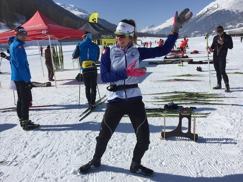 Getting goofy on sunshine and ski testing. Zuoz GR
