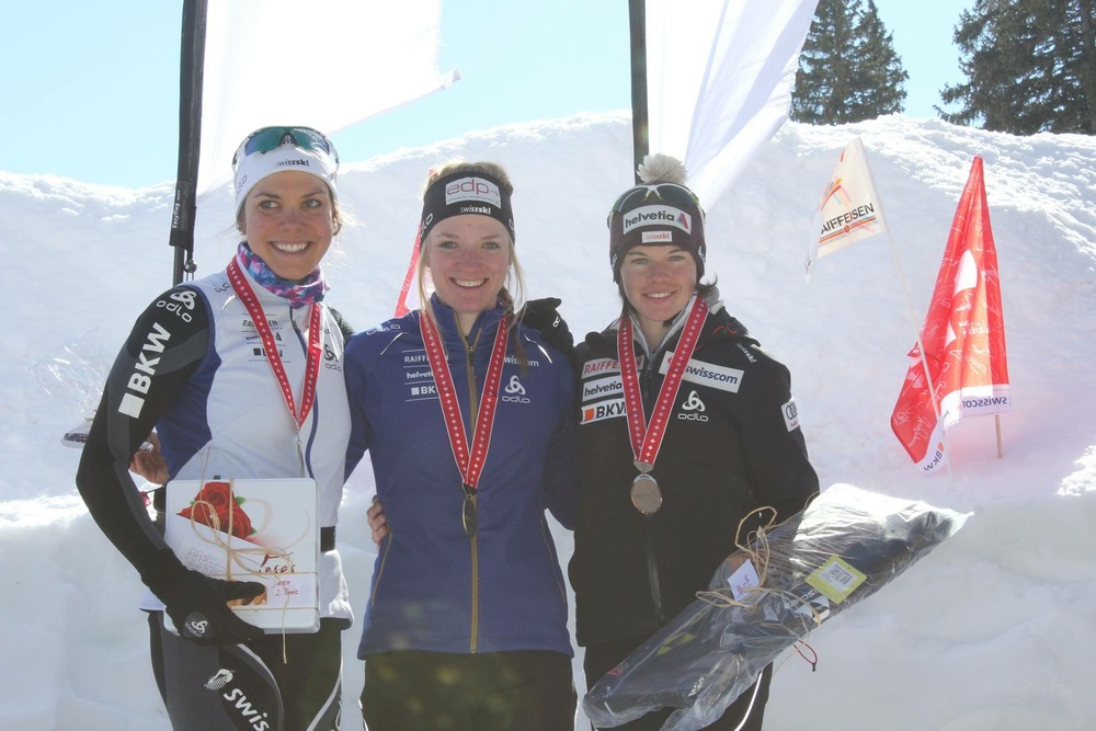 Sprint podium, together with Nadine Fähndrich and Nathalie von Siebenthal.