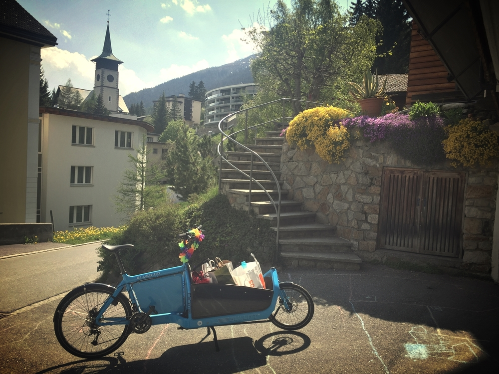 Recycling day in Davos.