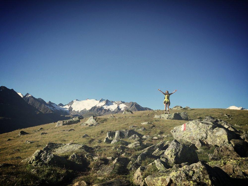 Daniela showing off her original backyard in Austria!