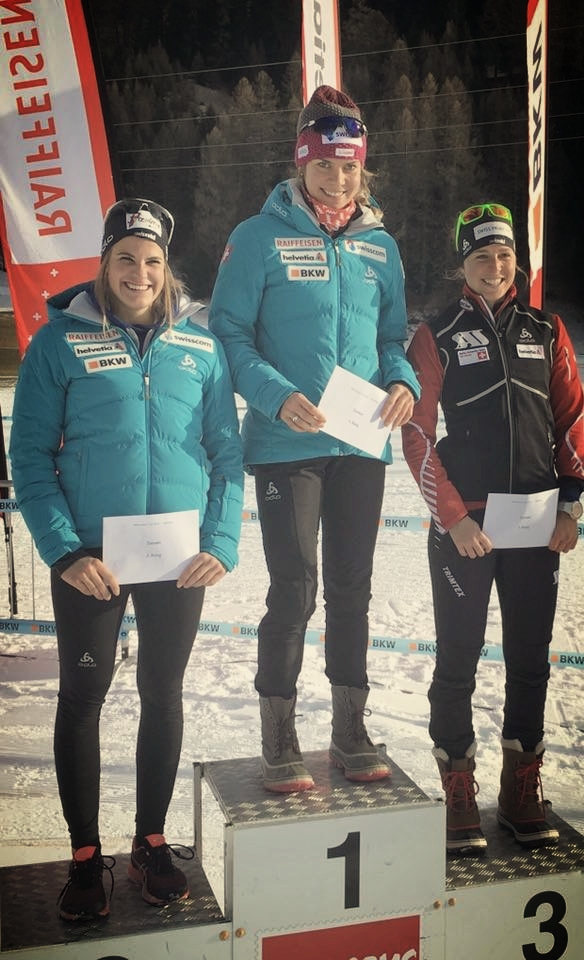 Alina Meier, myself and Tatjana Stiffler on the podium for the first race of the season in Goms. Swiss cup, skate sprint.