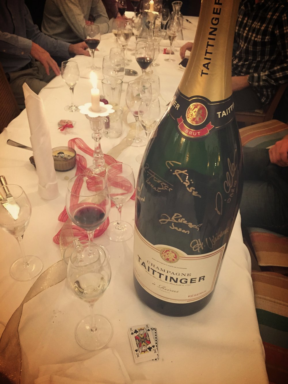 Ringing in the new year with the biggest bottle of Champagne I've ever seen and the Swiss and German National teams! Thanks to the  Schweizerhof  in Ste. Maria, Val Müstair.