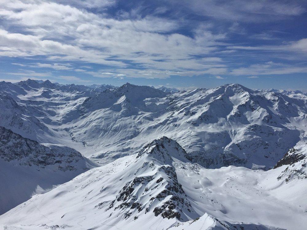 Birthday ski tour view from Roggenhorn 2891m.