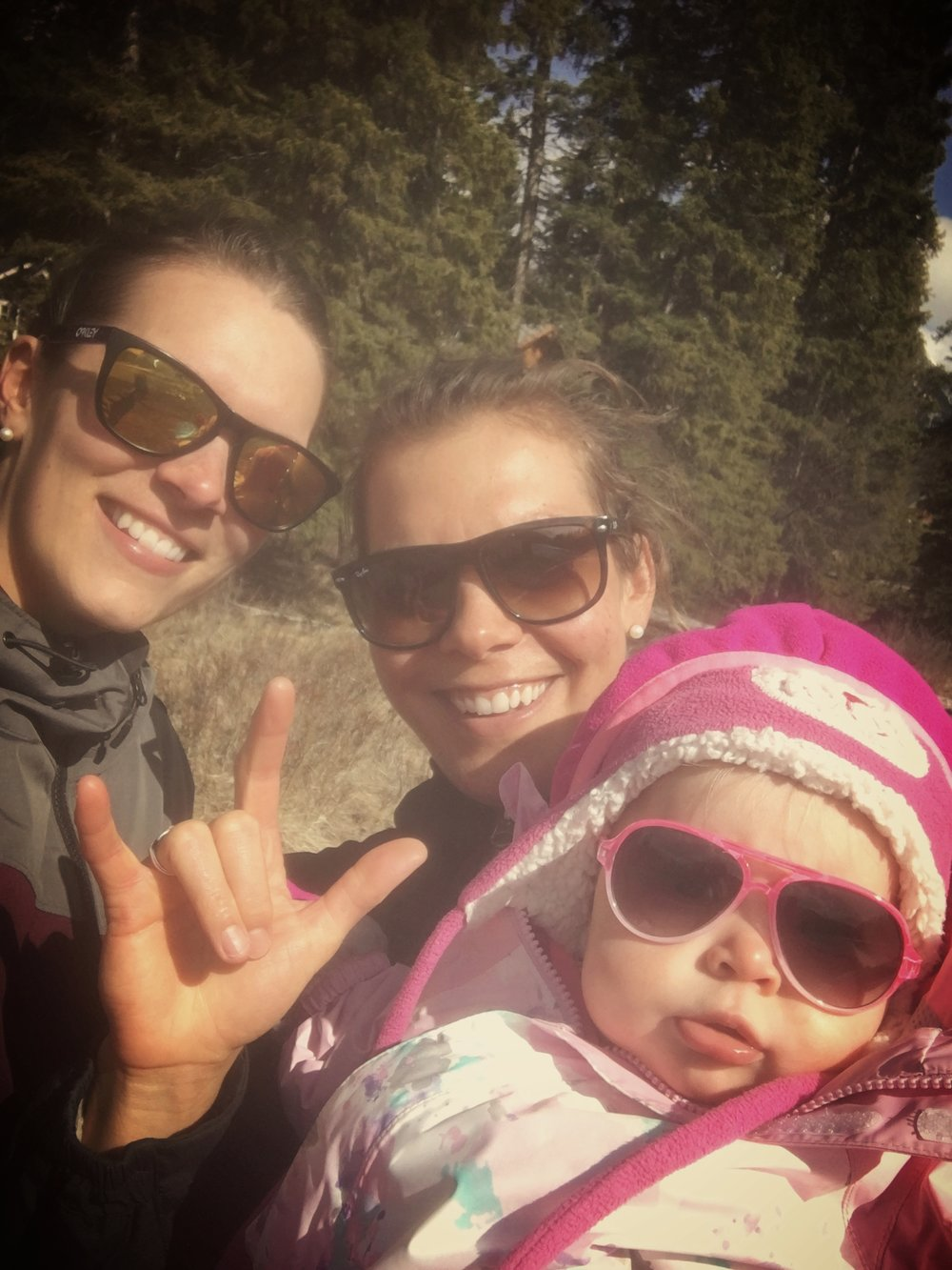 Walking with some rock stars. My sister, Ange, and niece, Evia. This little peanut is my new favourite bundle to hang with. So much love!!