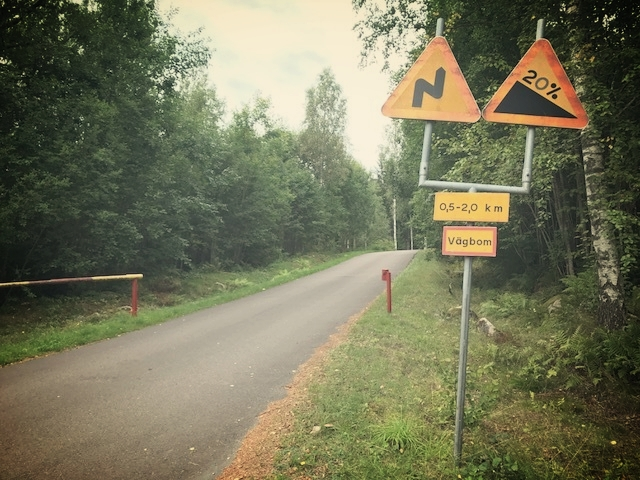 Starting the climb up to Tosseberg near Torsby, Sweden