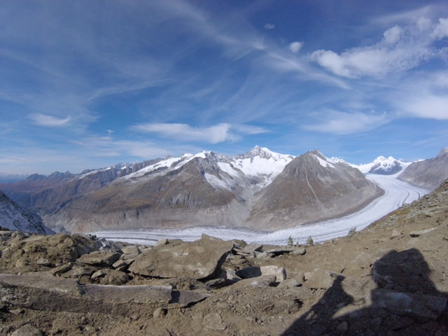 Aletsch Glacier stretching over 22km between the canton of Wallis and Bern.